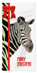 Zebra Christmas Card Beach Sheet by Rosalie Scanlon