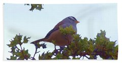 Beach Towel featuring the digital art White Crowned Sparrow In Cedar by Shelli Fitzpatrick