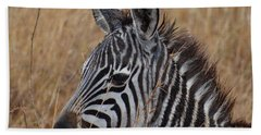 Zebra Half Shot Face On Right Side Beach Towel