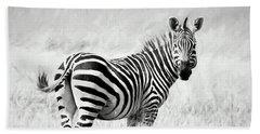 Zebra In The African Savanna Beach Towel