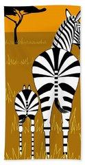 Zebra Mare With Baby Beach Towel