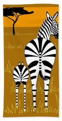 Zebra Mare With Baby Beach Towel