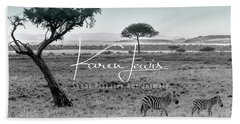 Zebra Mother And Child On The Mara Beach Towel by Karen Lewis
