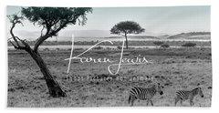 Zebra Mother And Child On The Mara Beach Sheet