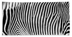 Zebra Print Black And White Horizontal Crop Beach Towel