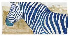 Zebra - Stylised Pop Art Poster Beach Towel by Kim Wang
