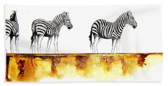Zebra Trio - Original Artwork Beach Towel