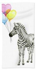 Baby Zebra Watercolor Animal With Balloons Beach Towel
