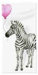 Zebra Watercolor Whimsical Animal With Balloon Beach Towel