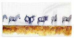 Zebras And Wildebeest 2 Beach Towel