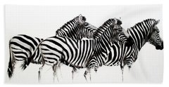 Zebras - Black And White Beach Towel