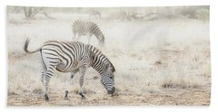 Zebras In Dreamy Scene - Horizontal Banner Beach Towel