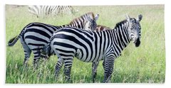 Beach Sheet featuring the photograph Zebras In Serengeti by Pravine Chester