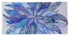 Beach Towel featuring the drawing Zen Flower Mandala by Megan Walsh