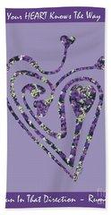 Zen Heart Labyrinth Floral Beach Towel