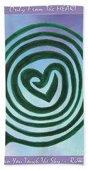 Zen Heart Labyrinth Sky Beach Towel