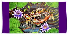 Beach Towel featuring the painting Zen Koirala Ripple Dance by Patricia L Davidson