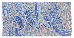 Zentangle Elephant-oil Beach Towel