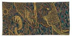 Zentangle Elephant-oil Gold Beach Towel