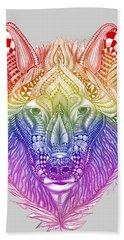 Zentangle Inspired Art- Rainbow Wolf Beach Towel