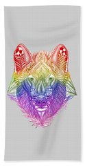 Zentangle Inspired Art- Rainbow Wolf Beach Towel