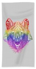 Zentangle Inspired Art- Rainbow Wolf Beach Sheet