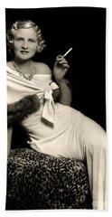 Ziegfeld Model Reclining In Evening Dress  Holding Cigarette By Alfred Cheney Johnston Beach Towel