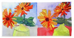 Beach Towel featuring the painting Zinnia Diptych by Sandy McIntire