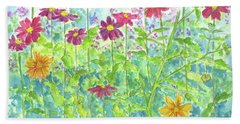 Beach Sheet featuring the painting Zinnias  by Cathie Richardson