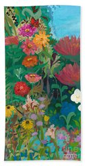 Zinnias Garden Beach Towel