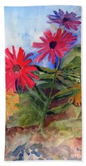 Beach Towel featuring the painting Zinnias In The Garden by Sandy McIntire