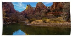 Zion National Park Court Of The Patriarchs Reflection Beach Towel