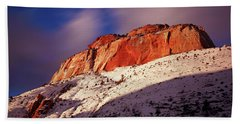 Zion's East Temple At Sunset Beach Towel by Daniel Woodrum