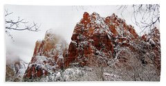 Zion's Peaks Framed Beach Towel by Daniel Woodrum