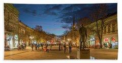 Zmaj Jovina Street In Moonlight Beach Sheet by Jivko Nakev