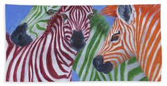 Beach Towel featuring the painting Zzzebras by Jamie Frier