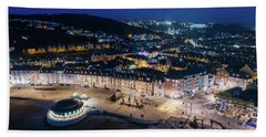 Aberystwyth Wales At Night From The Air Beach Towel