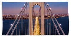 Aerial View Of Verrazzano Narrows Bridge Beach Towel
