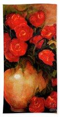 Antique Red Roses Beach Towel