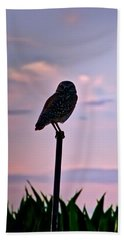 Burrowing Owl On A Stick Beach Towel
