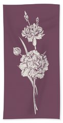 Carnation Purple Flower Beach Towel