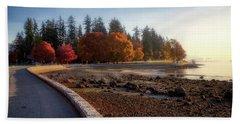 Colorful Autumn Foliage At Stanley Park Beach Towel