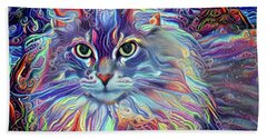 Colorful Long Haired Cat Art Beach Sheet