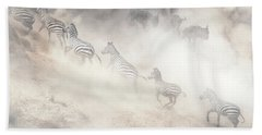 Dramatic Dusty Great Migration In Kenya Beach Towel