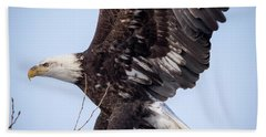 Beach Towel featuring the photograph Eagle Coming In For A Landing by Ricky L Jones