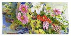 Flower Basket Beach Sheet