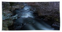 Frozen River And Winter In Forest. Long Exposure With Nd Filter Beach Sheet