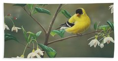 Goldfinch And Snowbells Beach Towel