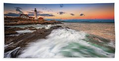 Beach Towel featuring the photograph High Tide At Dusk by Rick Berk