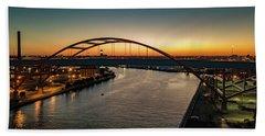 Beach Sheet featuring the photograph Hoan Bridge At Dusk by Randy Scherkenbach